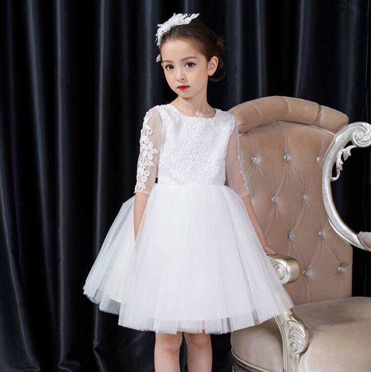 купить Flower Girl Dress Kids Pageant Party Wedding Bridesmaid Ball Gown Prom Princess Formal Occassion Back Hollow Dress 3-12Y дешево
