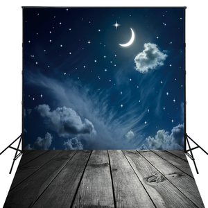 Best Wholesale 4X6ft Art Fabric Moon Photography Backdrop For Photos Starry Night Sky Photo Back Drop D8189