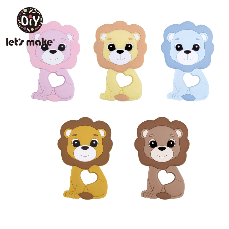 Let'S Make 10Pc Silicone Teether Cartoon Lion Food Grade Silicone Diy Pendant For Baby Teething Rodent Chewable Toy Baby Shower