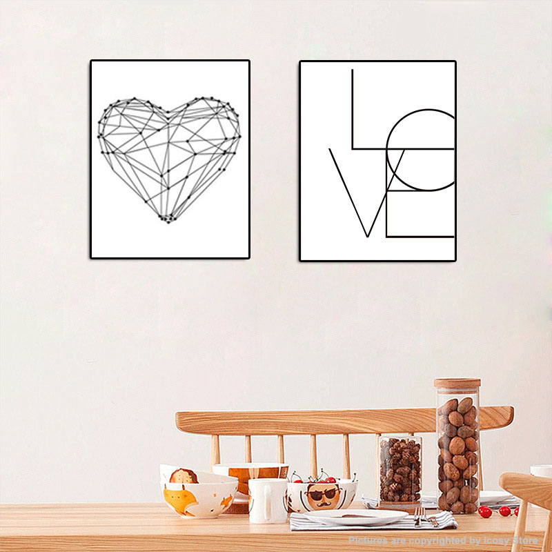 Letters LOVE Print Wall Art Painting Wall Posters and Pictures For Bedroom Home Decor Drop Shipping line art