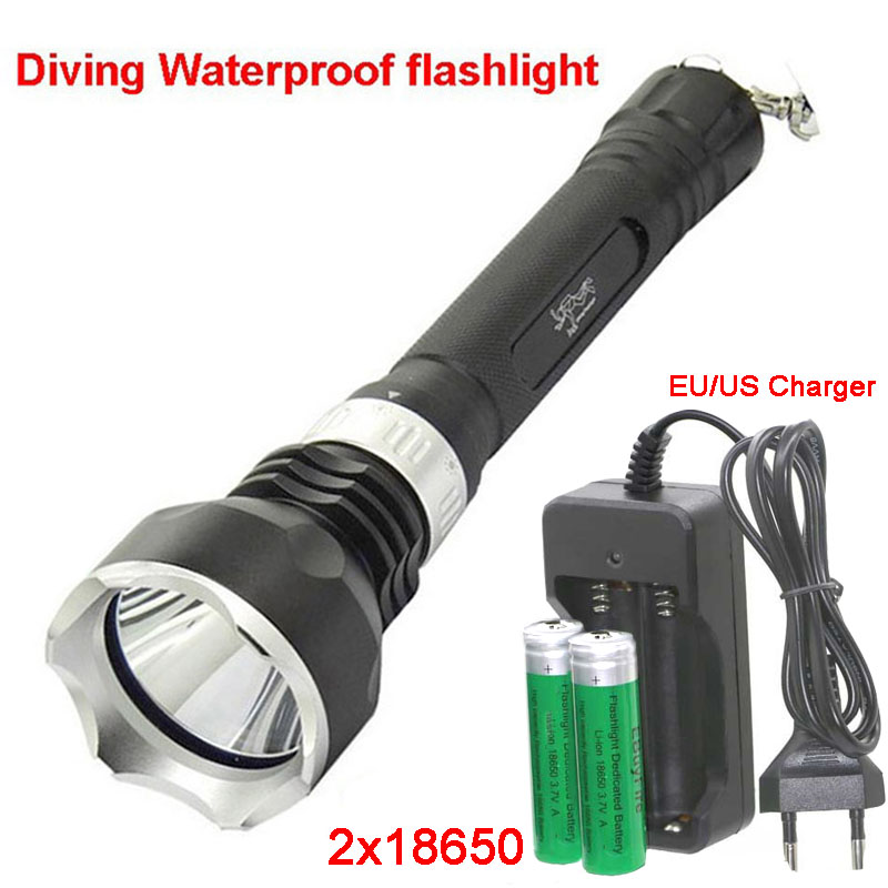 Aliexpress.com : Buy led Diving 18650 flashlight Underwater torch XM L T6 2000LM LED Diving light Waterproof Lamp + 2x 18650 battery+charger from ...