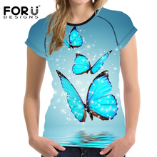 FORUDESIGNS T-shirt Womens Harajuku T shirt Butterfly Printing 3D Tops Women t-shirts Ladies Casual Tshirts Retro Style Clothes