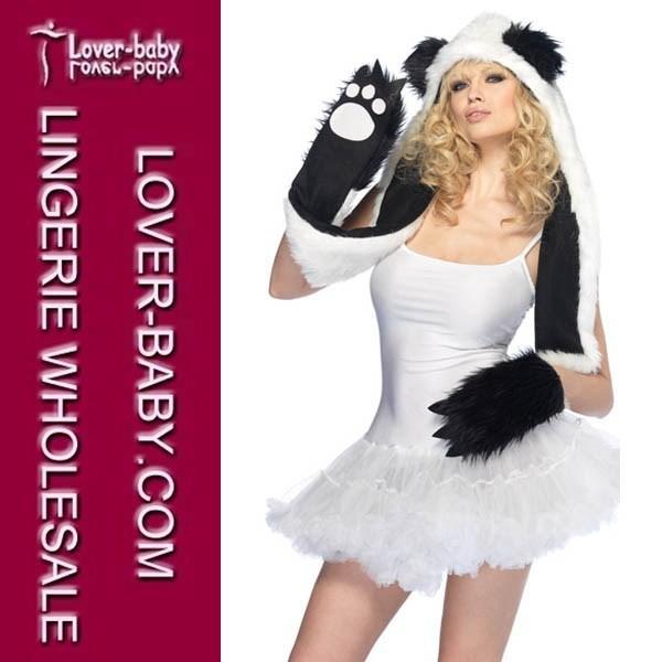 Super Warm Faux Fur Winter Plush Animal Hood Plush Panda Hood Hat With Paw Scarf Cap TY918