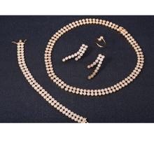 ZHE FAN Luxury AAA CZ Zirconia Gold Color For Female Wedding White Jewelry Sets 4 Pcs Necklace Earrings Bracelet Ring Set