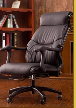 US $888 0 |Real leather reclining chair  Solid wood four legged computer  chair  Fixed armrest leather art office chair 028-in Office Chairs from