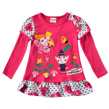 Girls long-sleeved embroidered dress new autumn cotton girls children for to wear clothes F7135
