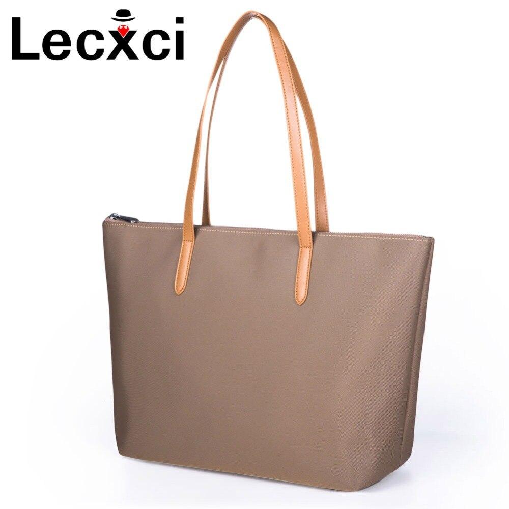 Lecxci femmes étanche épaule sac en nylon tissu sacs à main pour femmes OL banlieue sac simple de grande capacité dames Embrayage