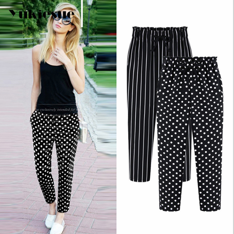 L-5XL Plus Size Casual Women Trousers Ankle-Length Pants 2018 Fashion Dot Print Chiffon Summer Striped Harem Pants Extra Large