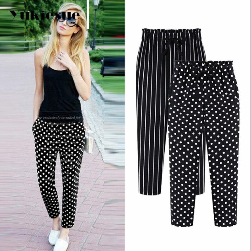 L-5XL Plus Size Casual Women Trousers Ankle-Length Pants 2018 Fashion Dot Print Chiffon Summer Striped Harem Pants Extra Large