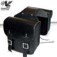 1 pair Motorcycle Saddle Bags Pu Leather Black Brown Motorbike Side Bag Tool Luggage For Harley Davidson SaddleBag Sportster