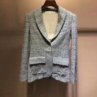2019 весенние женские Блейз твид синий плед тонкий пошив Professional woman тонкое пальто высокого класса шелковая подкладка Топ