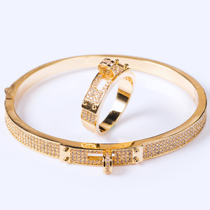 Image 4 - Blucome Womens Zircon Bangle jewelry For Party Perfect Gold color Mens Bangle Pulseira Mujer Women Love Bangle & Braceletes