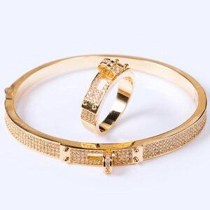 Image 4 - Blucome נשים של זירקון צמיד תכשיטי למסיבה מושלם זהב צבע גברים של צמיד Pulseira Mujer נשים אהבת צמיד & צמידים