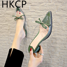 HKCP 2019 new Korean fashion bow tip with chunky heels transparent slippers womens shoes outside wear C248