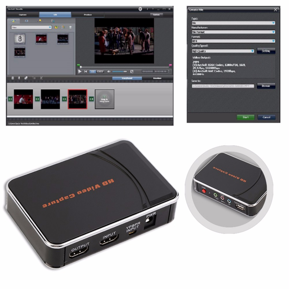 HD Video Game Capture Box HDMI YPbPr Recorder One-clink Record Into USB Flash For XBOX 360/One PS3 For WII U 1080P Rec
