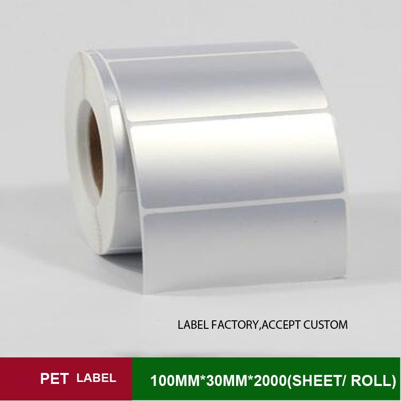 100w*h30mm*2000pcs one roll quality PET thermal transfer sticker label paper accept customized order with other size 60 50mm 2000 sheets per roll single row thermal transfer adhesive paper can customize use sticker printer empty shipping label