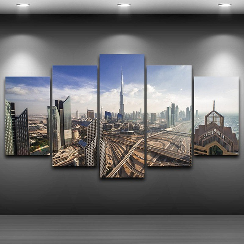 Modern Landscape Poster Frame HD Printed Modular Home Decor Painting 5 Panel Dubai City Building Canvas Wall Art Pictures PENGDA