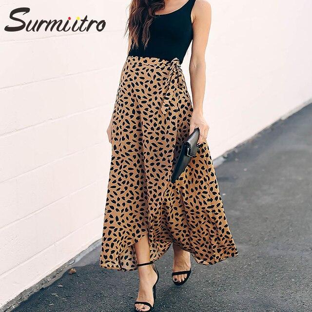 Surmiitro מנוקדת הדפסת ארוך מקסי קיץ חצאית נשים אופנה 2020 גבירותיי לבן שחור פיצול גבוה מותן אונליין שמש חצאית נקבה