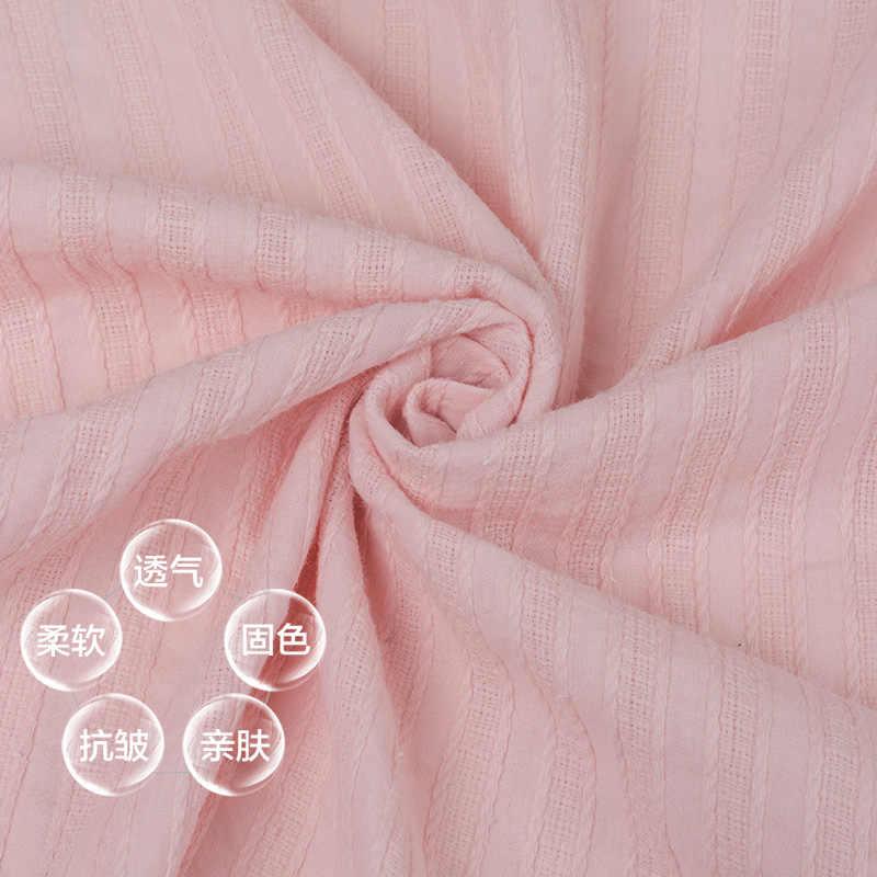 145 × 50 センチメートル薄型ストリップソリッドカラーのジャカード治療コットンリネン布スラブソフト生地 Diy ドレスローブの服手作り 140 グラム/メートル