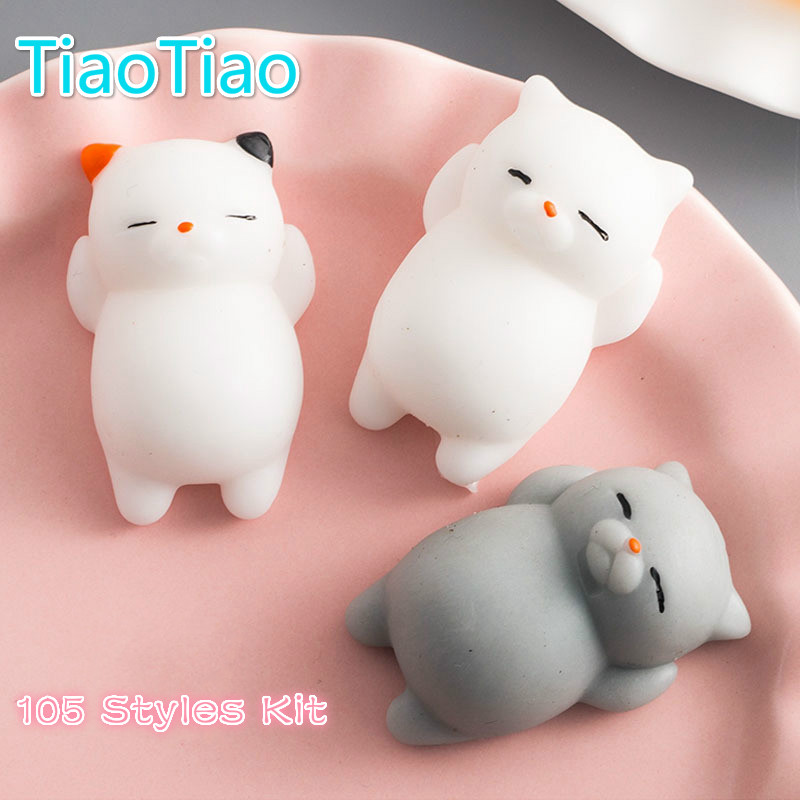 100PCS/Set 100 styles Cute Mochi Squishy Cat Squeeze Fun Kids Kawaii Toy Stress Reliever Decor Toys Gifts Squishy Slow Rising mr froger american crocodile alligator wild animals toys set zoo modeling plastic solid cute gift reptiles toy gifts diy fun
