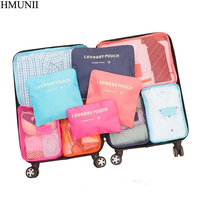 HMUNII New 6PCS/Set High Quality Oxford Cloth Travel Mesh Bag In Bag Luggage Organizer Packing Cube Organiser for Clothing C1-04