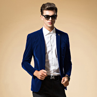 Mens Blazer High Quality Suit Jacket Korean Fashion Velvet Blue Blazer Male Casual Jacket Single Breasted