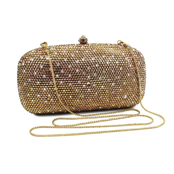 Dazzling  gold and white  bling purses evening bag lady party clutch bag (B1034-GW)