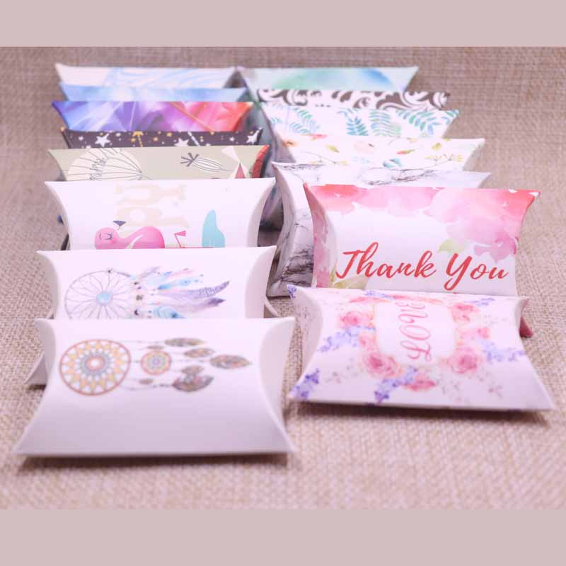10pcs 2019 New DIY Candy Box Gift Catch Dream Design Birthday Paper Box Pillow Products Cardboard Jewelry Packing Hand Make Box