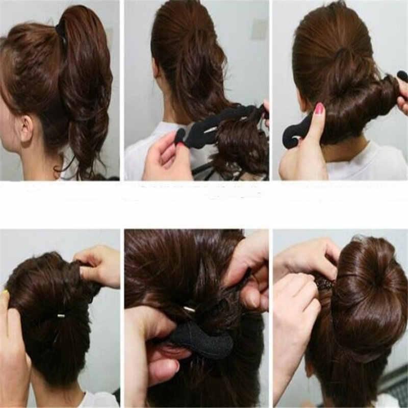 Saç şekillendirici sihirli sünger donut Bun bigudi saç büküm yapımcısı aracı rulo Coiffure saç Braider Styling araçları saç örgü aracı