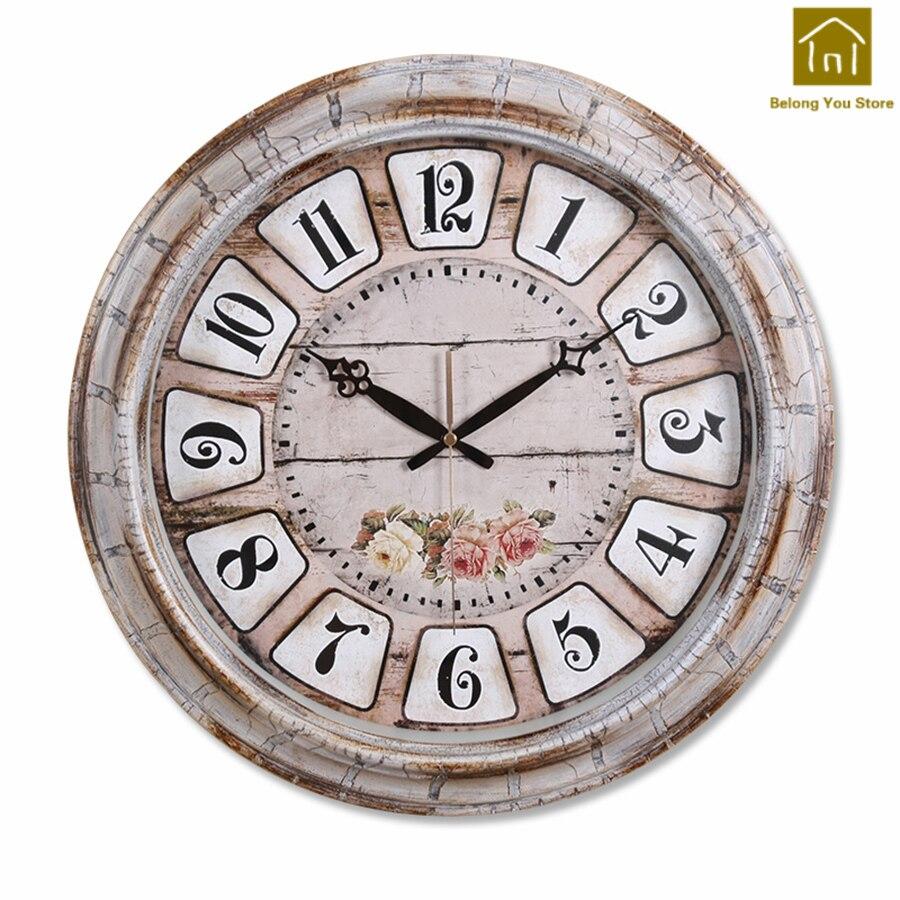 Décoratif Antique grand silencieux rétro horloge murale moderne chambre Vintage décor à la maison mur Art Klokken décoration outils WKP099