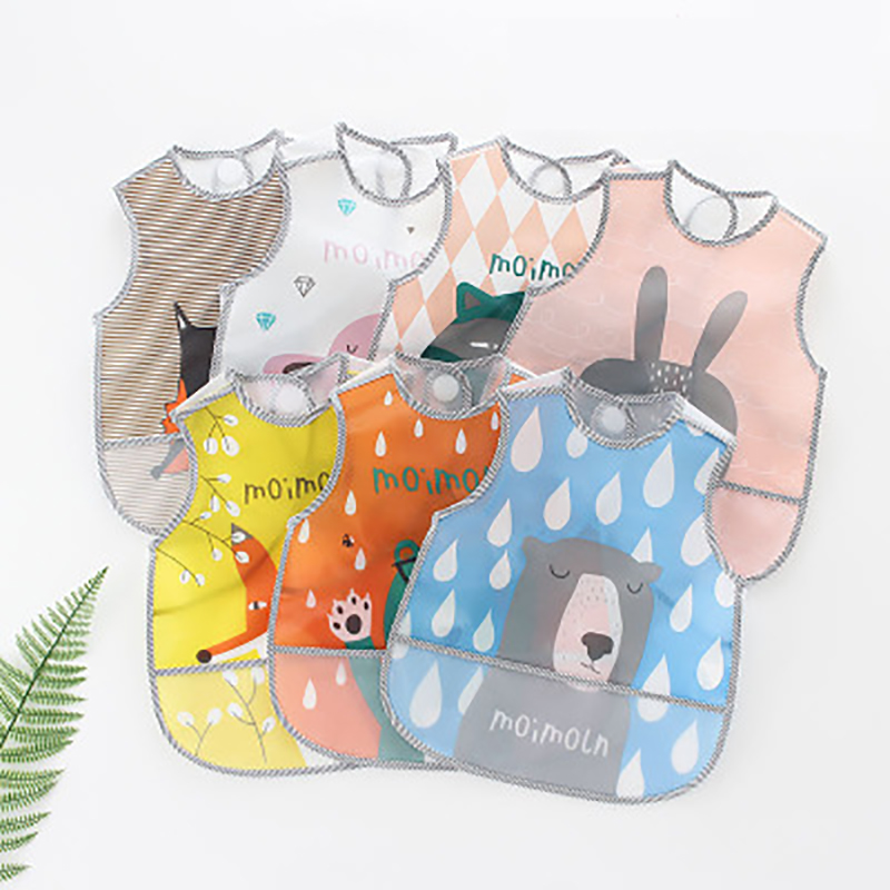 Ideacherry Baby Bibs Lovely Cartoon Animals Pattern Infant Bib Waterproof EVA For Children All Season Shorts Sleeve Feeding Bibs