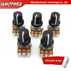 1 pair WH148 B10K B20K B50K B100K 3pin 15mm 1K 2K 5K 10K 20K 50K 100K 250K 500K 1M 1pcs wh148 + 1pcs AD2 knob Potentiometer knob