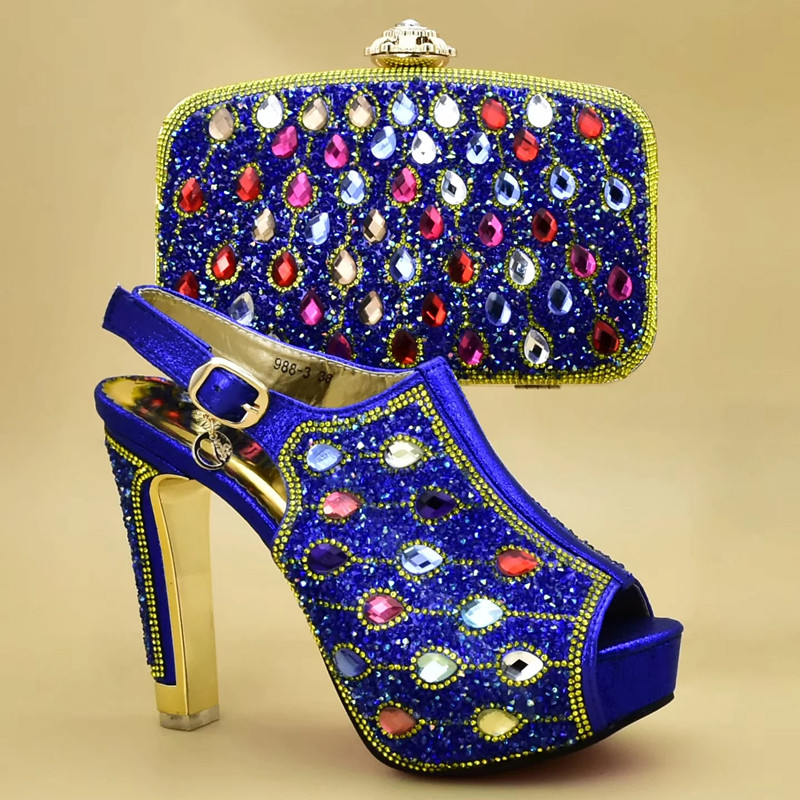 African Shoes and Matching Bags Italian Nigerian Women Wedding Shoes and Bag Set Decorated with Rhinestone Fashion Bridal Shoes