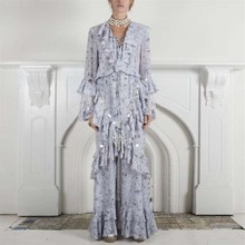 Female Spring Fashion V Neck Patchwork Sequins Tassel Maxi Dress Women Flare Sleeve Ruffle Party