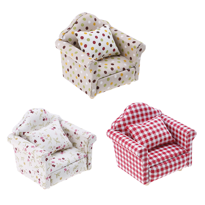 New 1:12 Dollhouse Furniture Dot Plaid Flower Chair Sofa With Pillow Sweet Furniture For Doll House Armchair Furniture Toys Gift