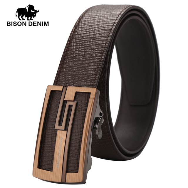 BISON DENIM New arrival genuine Leather Belts Business casual automatic buckle belt men coffee belt for gift N71078