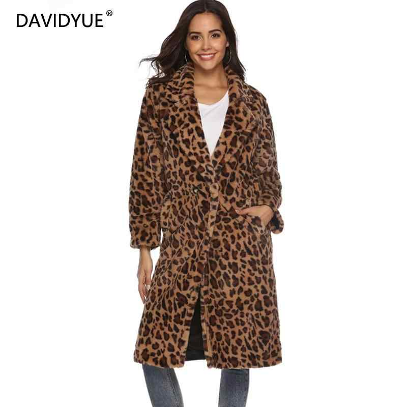 3f50ad7c8aa5 Winter Leopard print Fur Coats women long Coat plus size long sleeve thick  warm Fur jacket