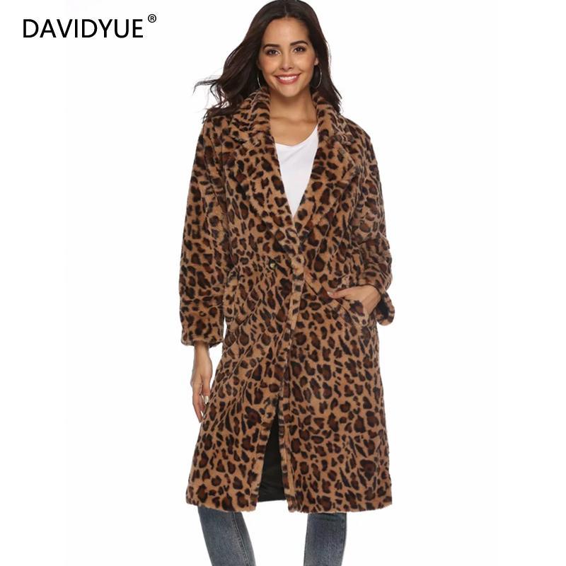 Зимой Леопардовый мех пальто Женщины длинное пальто большие размеры Длинные рукава толстые теплые меховые куртки Повседневное карман Тедди пальто