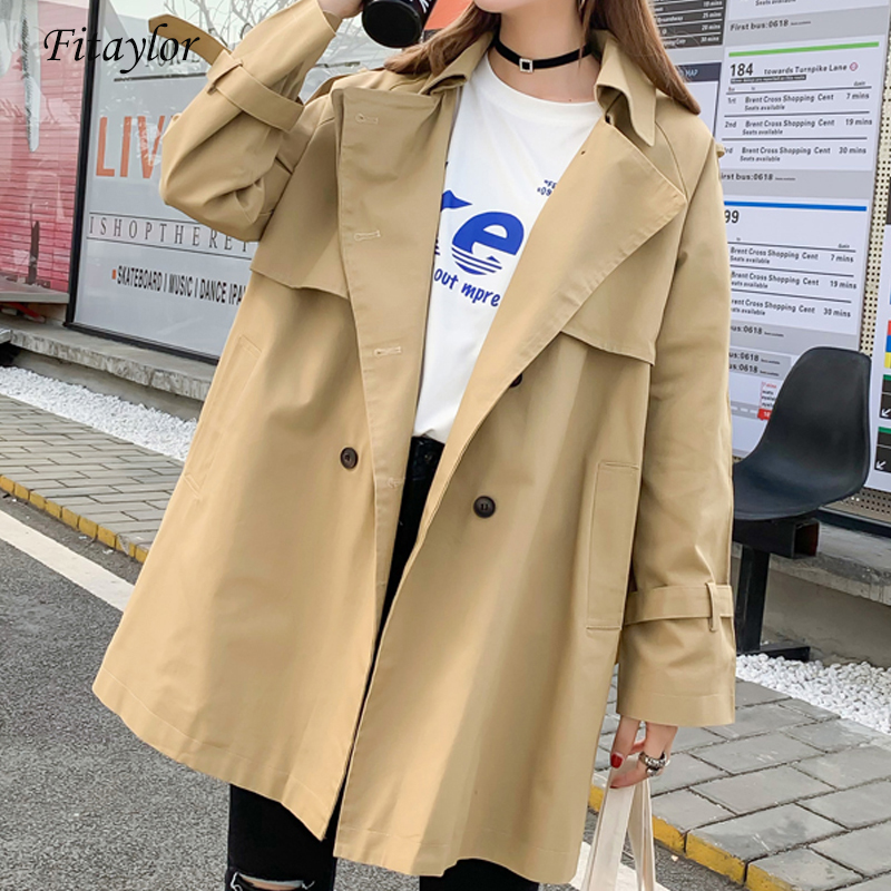 Fitaylor Spring new   Trench   coat women Casual Medium long Windbreaker Outerwear loose Double Breasted female Overcoat