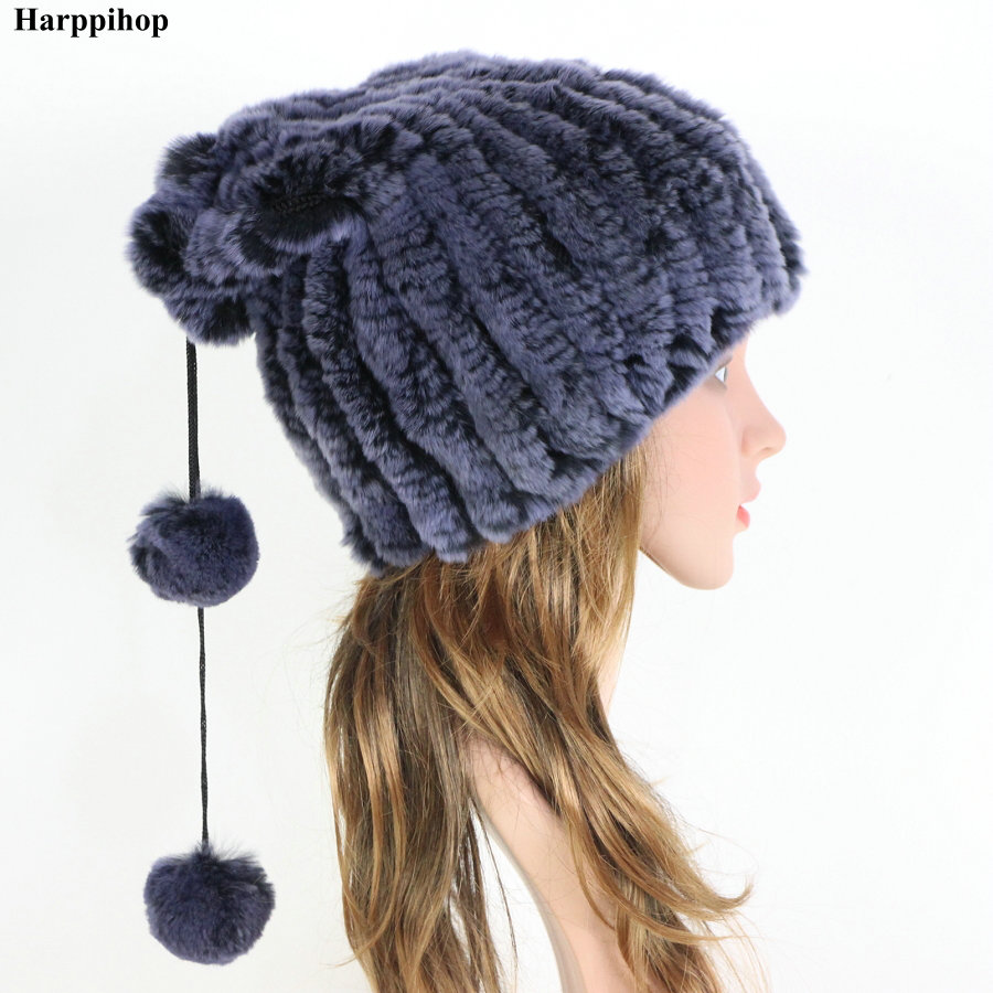 Winter Fur Caps Hats   Beanies   For Women Sew Stripes Real Rex Rabbit Fur Hat Cap scarf Female Soft Warm Natural Fur   Beanies   Ladies