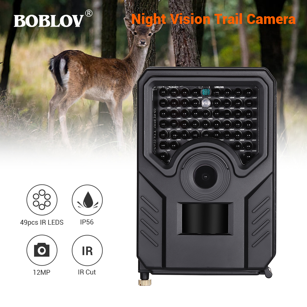BOBLOV PR200 12MP 49PCS IR Leds Trail Hunting Camera FHD 1920*1080P 25FPS Waterproof Scouting Trail Camera BLACK-in Hunting Cameras from Sports & Entertainment