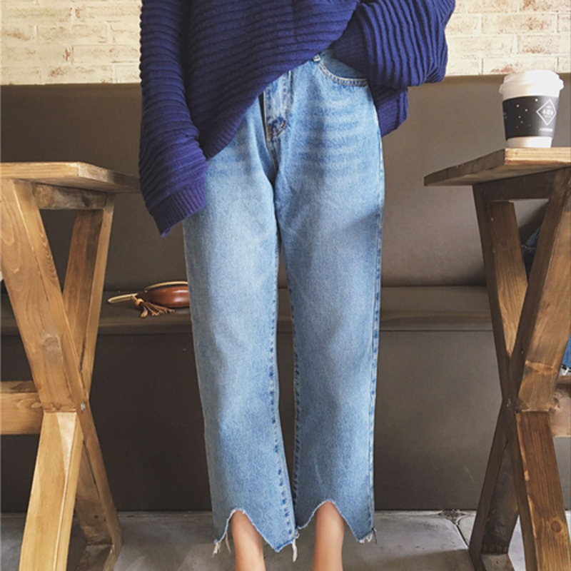 College Wind Loose Trousers That Irregular Nine Points Female Jeans Casual Pants Ladies Trousers Wide Leg