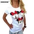 Mujeres Mickey camiseta Del Verano Super Lindo de la Historieta Camisetas Ocasionales Cómodos tops