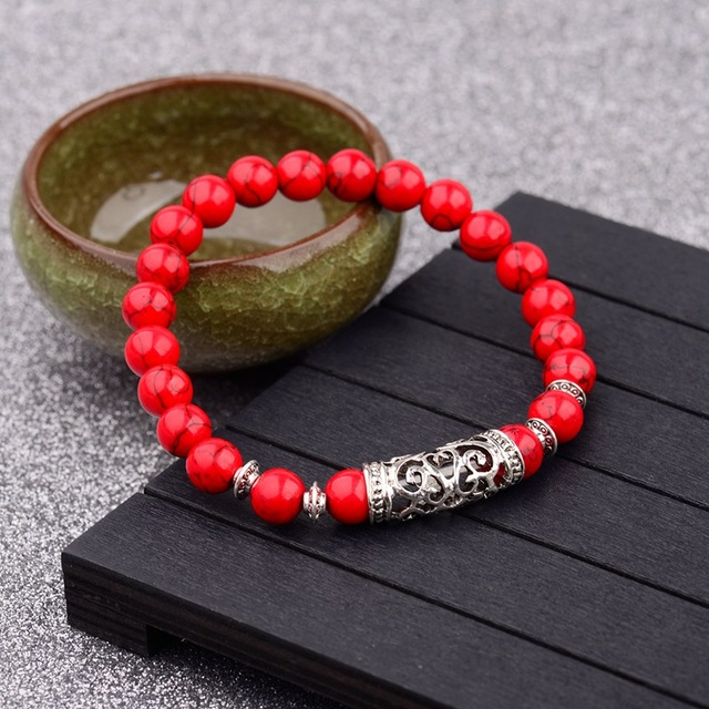 3e918fa3479fe US $1.32 30% OFF|Red Natural Stone Beads Bracelet For Men 2018 Silver  Hollow Tube Bracelet White Adjustable Yoga Chakra Bracelets Bangles  ABD021-in ...