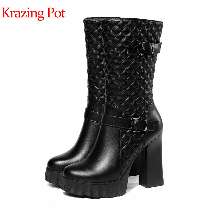 Krazing pot new cow leather winter shoes zipper women mid-calf boots motorcycle boots round toe office lady platform boots L3f8 new vintage zipper manual sewing height increasing round toe platform 2 colors real leather mid calf boots women casual shoes