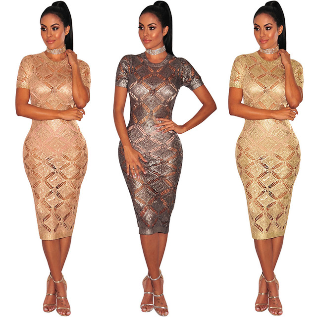Hollow Out Crochet Gold Sparkly Dress Women Sexy See-through Short Sleeve  O-Neck Glitter Bodycon Celebrity Party Dresses 6bb693f4fb