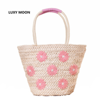 Large Beach Bags Daisy Floral Embroidery Handmade Weave Straw Handbags Summer Boho Shoulder Bags Women Straw