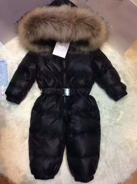 2016 Winter baby girl down coat Baby clothes print outerwear Fur Hooded children's Snowsuit down coats Child jumpsuit romper
