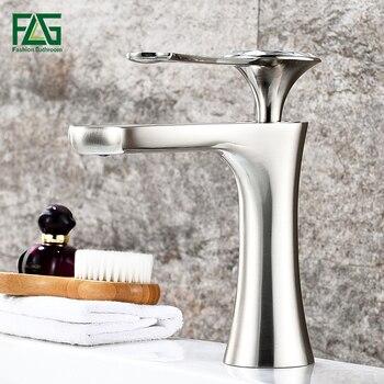 Grifos mezcladores de lavabo FLG grifos de un solo agujero grifos de baño de níquel cepillado grifo de lavabo de baño diamante en mango grifo mezclador de agua