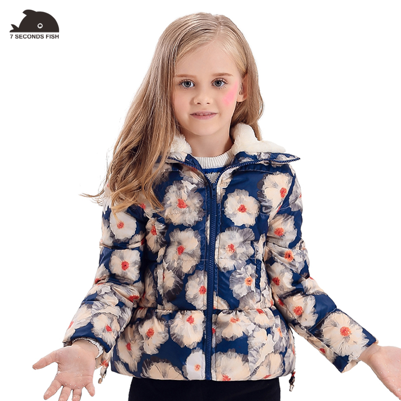 girl coat winter Floral Printing Baby Girls Winter Coats Wool-like Collar white duck Down Parkas Jackets Kids Clothes pink wool coat doll clothes with belt for 18 american girl doll